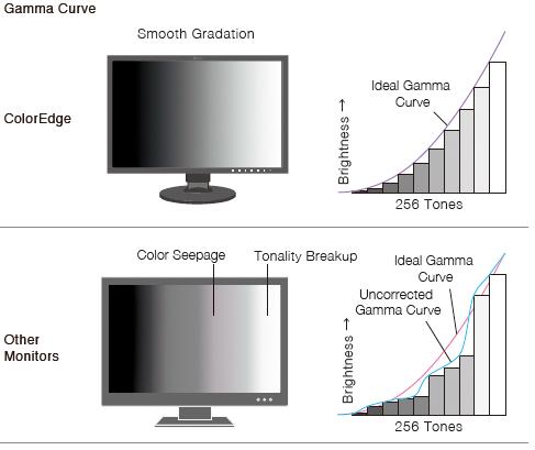 courbe gamma ajustement en usine écran graphique eizo coloredge cg2730