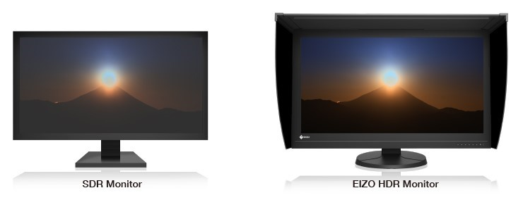comparaison technologie SDR vs HDR écran graphique eizo coloredge prominence cg3145
