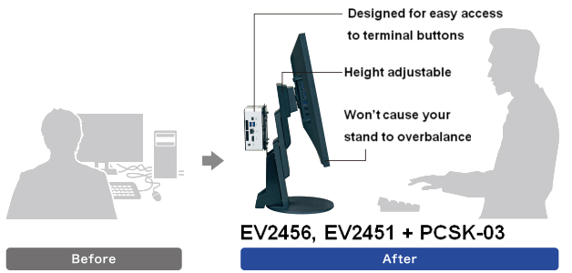accessoire support client léger écran bureautique eizo flexscan ev2456