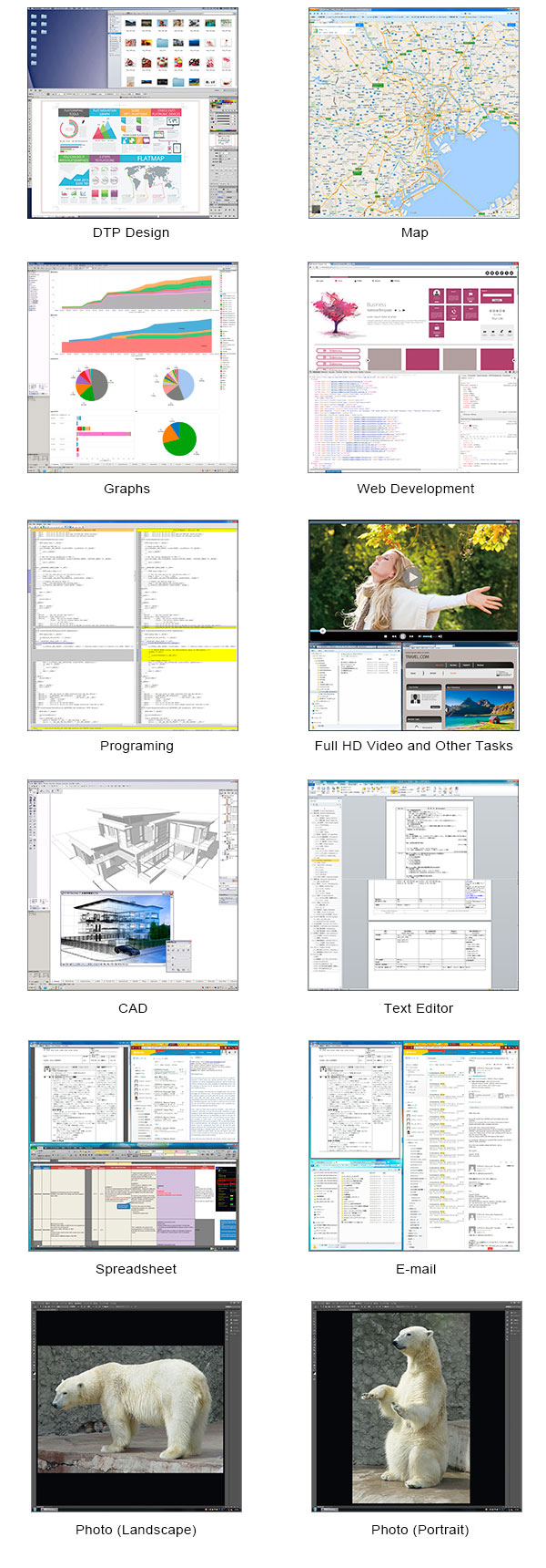exemples d'affichage écran bureautique eizo ev2730q