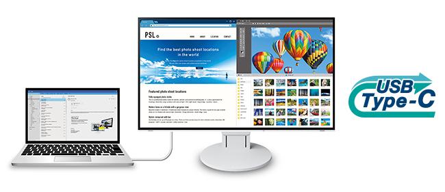 Connectique USB Type-C écran bureautique Flexscan EV2785
