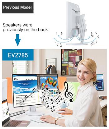 haut-parleurs à l'avant du moniteur écran bureautique eizo flexscan EV2785