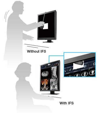sonde de calibration intégrée à l'avant du moniteur médical EIZO Radiforce RX250